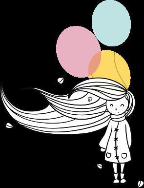 muñeca vida con globos